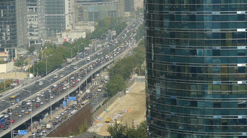Aerial view of timelapse overpass traffic at... Stock Video Footage