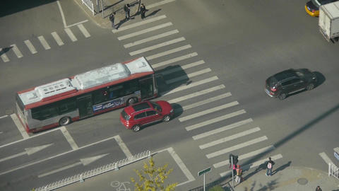 Aerial view of crosswalk & overpass traffic at an urban city,zebra crossing Footage