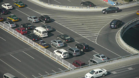 Aerial view of overpass traffic in beijing china Footage