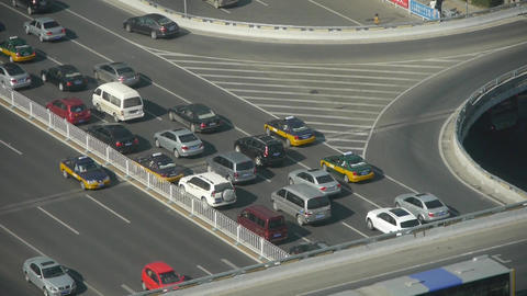 Aerial view of overpass traffic in beijing china Stock Video Footage