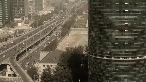 Aerial view of sandstorm Beijing,city overpass... Stock Video Footage