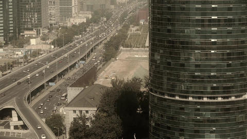 Aerial view of sandstorm Beijing,city overpass... Stock Video Footage