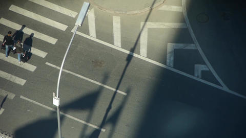 Aerial view of timelapse crosswalk & traffic at an urban city,zebra crossing Footage