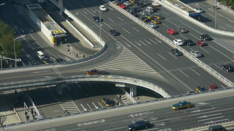 Aerial view of overpass traffic in city Footage