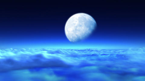 Beautiful night flight over clouds to the moon Animation