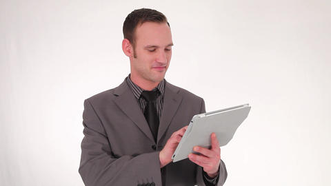 Businessman working on a tablet Stock Video Footage