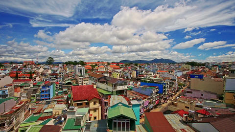 Upper View of Vietnamese Resort City Roofs Streets Footage