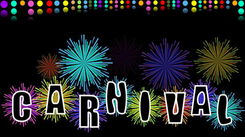 Carnival video, movie with animated inscription, colorful pyrotechnics and confe Animation