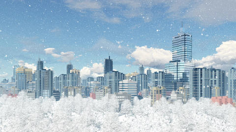 Modern big city with park zone at snowfall Animation