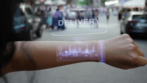 Female hand activates hologram Delivery Live Action