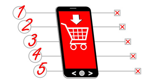 Smart phone, animated drawing with shopping list. On red phone display a cart, b Animation