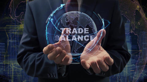 Male hands activate hologram Trade Balance Live Action