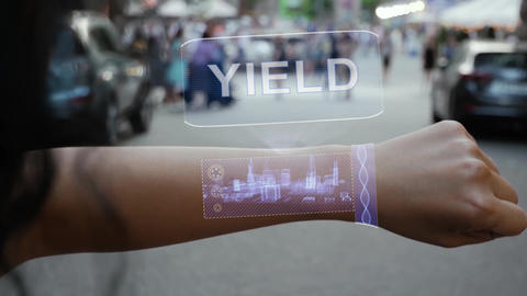 Female hand activates hologram Yield Live Action