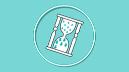 Time management video intro for soft skills training. Circle emblem with hourgla Animation