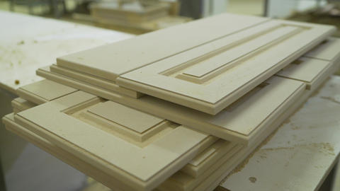 Wooden blanks for construction. Wooden blanks in joinery. Furniture manufacture Live Action