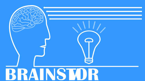 Brainstorming video with head, brain, flashing light bulb, animated arrows. Whit GIF