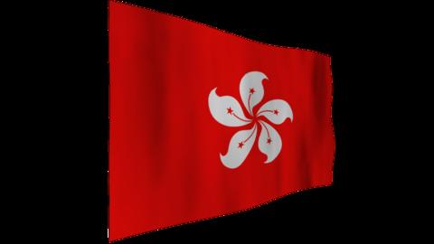 香港の旗 背景はアルファチャンネル(透明)です。 CG動画