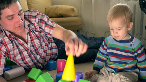 Father Plays With Son Toy Bricks In Room Slow Motion 30p 0 5 Real Time Speed 60p 2 Live Action