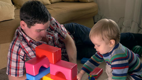Happy Father And Son Build Structure Using Toy Bricks In Room Slow Motion 30p 0 5 Real Time Speed Live Action