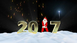 Santa Claus Dancing 2017 text, Dance 8, winter landscape and fireworks Animation