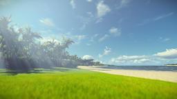 Tropical beach morning haze, travel camera Animation