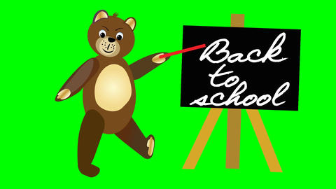 Brown teddy bear jumps by blackboard with sign Back to school. Welcome banner fo Animation