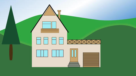 House building. Animated house construction in countryside with tree. Advertisin Animation