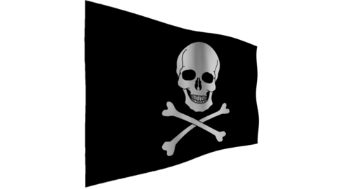 Flag of Pirate. The background is an alpha channel (transparent) Animation