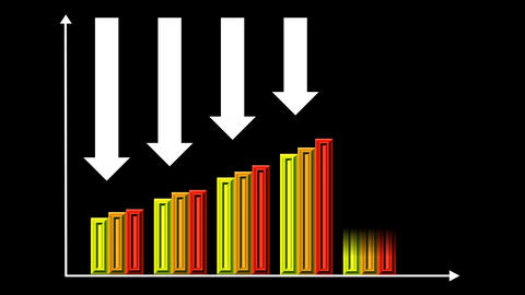 Two animated bar graphs - upward trend, downtrend, arrows, colored animated colu Animation