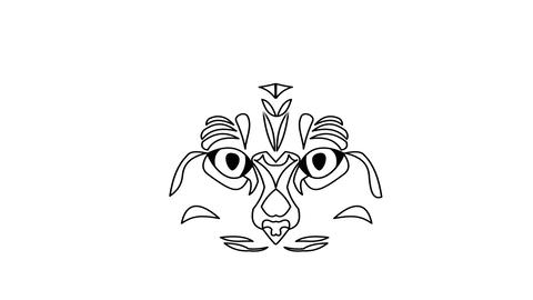 Cat head animated drawing. Video in white and black... Stock Video Footage