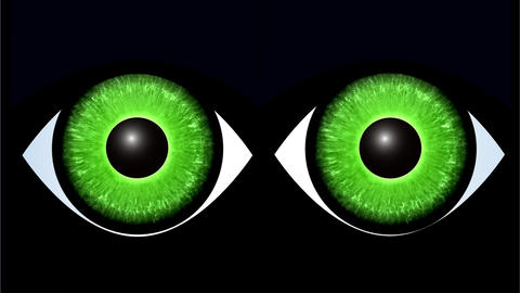 Green eyes of black cat predator. Moving cat's eyes glowing in darkness. Video i Animation