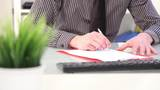 Businessman Writing Notes, Close Up Hands stock footage