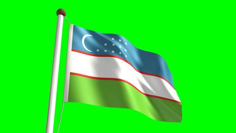 Uzbekistan flag Stock Video Footage