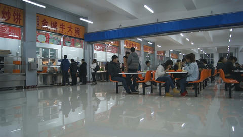 Chinese student canteen Stock Video Footage