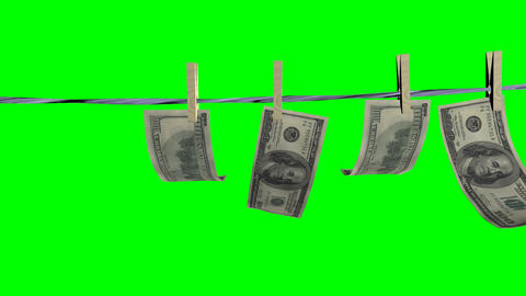drying of the dollar banknotes.Isolated over green alpha Animation