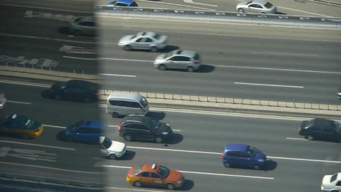 Aerial view of overpass traffic in city,reflect on glass... Stock Video Footage