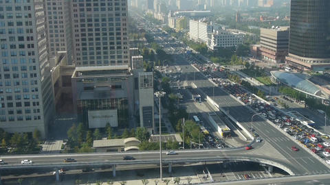 Aerial view of traffic jam pollution at intersection... Stock Video Footage