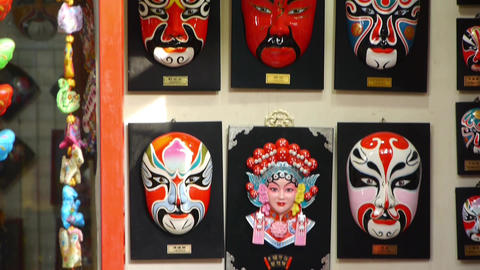 Beijing Opera mask on the wall,chinese tradition art culture Stock Video Footage