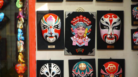 Beijing Opera mask on the wall,chinese tradition art culture Footage
