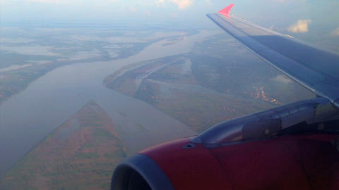 Air Asia Arriving in Phnom penh, Cambodia Stock Video Footage