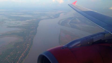 Air Asia Arriving in Phnom penh, Cambodia Live Action