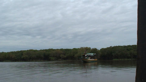 boat cambodia 01 Stock Video Footage