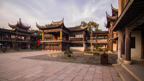 Cloudy sky in an Old Style Chinese Architecture Stock Video Footage