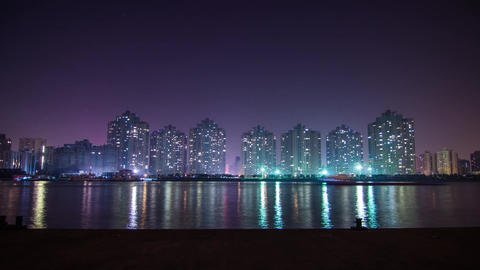 Night River Traffic in a Residential Area Stock Video Footage