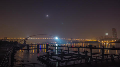 River Traffic at Night by Lupu Bridge in Shanghai Stock Video Footage