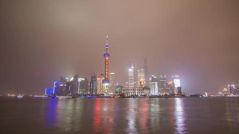 Shanghai Pudong Day to Night Time Lapse Stock Video Footage