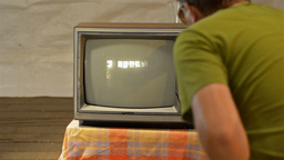 Man Smashes Television With an Axe Stock Video Footage