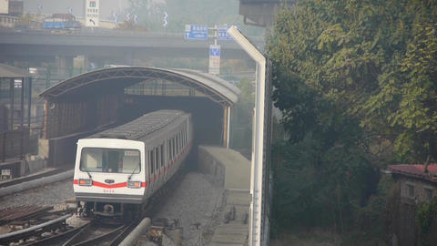subway through tunnel in beijing,haze pollution in urban... Stock Video Footage