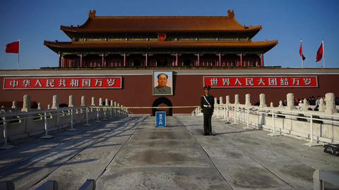 China Police on Beijing Tiananmen,MaoZeDong portrait... Stock Video Footage