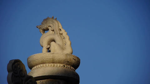 east ancient royal lion marble pillar in Beijing China Stock Video Footage
